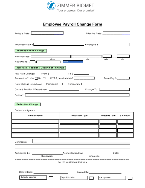 """Employee Payroll Change Form - Zimmer Biomet"" Download Pdf"