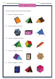 """Faces, Edges & Vertices Worksheet With Answer Key"""