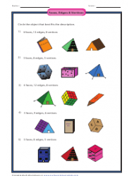 Faces, Edges & Vertices Worksheet With Answer Key