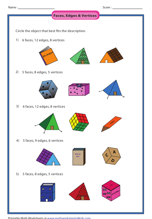 Faces Edges Vertices Worksheet With Answer Key Download