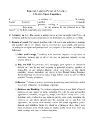 General Durable Power of Attorney Template - Wyoming