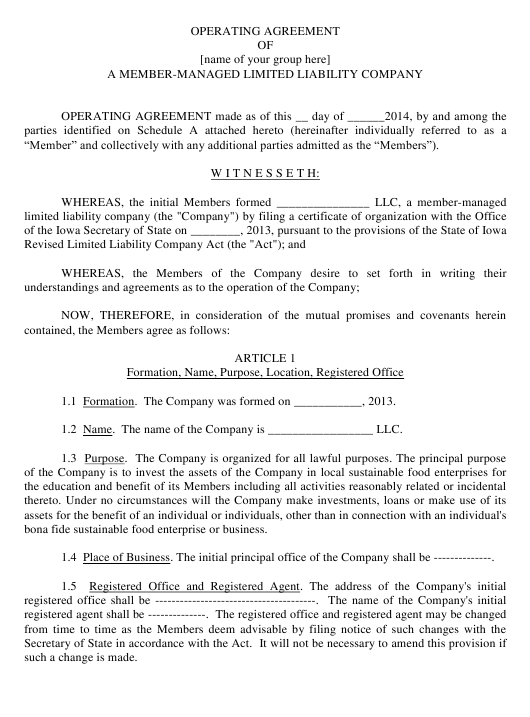 """""""Operating Agreement Template of a Member-Managed Limited Liability Company"""" - Iowa Download Pdf"""