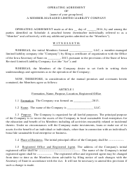 """""""Operating Agreement Template of a Member-Managed Limited Liability Company"""" - Iowa"""