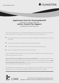 """Application Form for Housing Benefit (Including Local Housing Allowance) and/Or Council Tax Support (Including Second Adult Discount)"" - Islington, Greater London, United Kingdom"