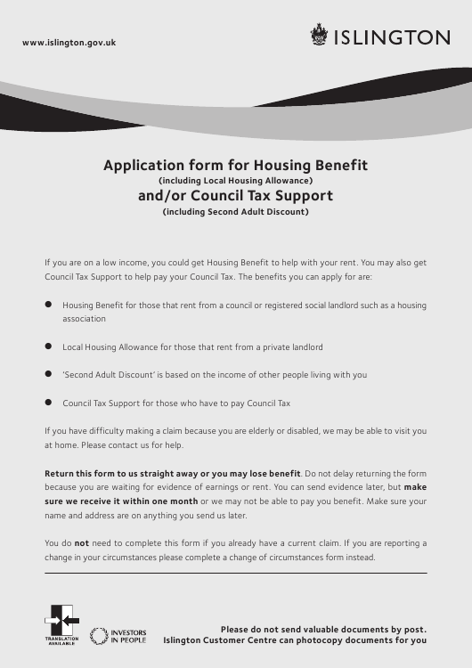 """Application Form for Housing Benefit (Including Local Housing Allowance) and/Or Council Tax Support (Including Second Adult Discount)"" - Islington, Greater London, United Kingdom Download Pdf"