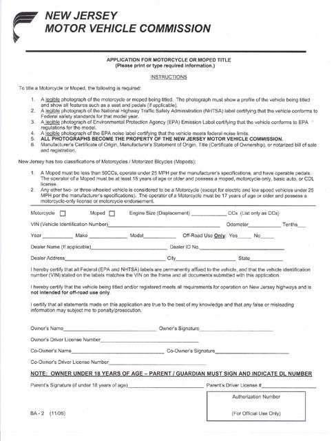 Form BA-2  Printable Pdf