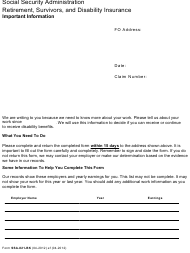 Form SSA-821-bk Work Activity Report - Employee