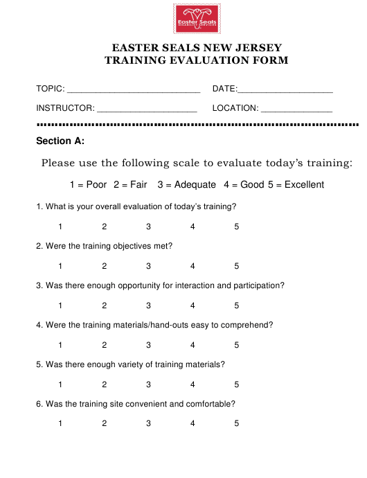 """Training Evaluation Form - Easter Seals New Jersey"" Download Pdf"