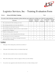 """Training Evaluation Form - Logistic Services"""