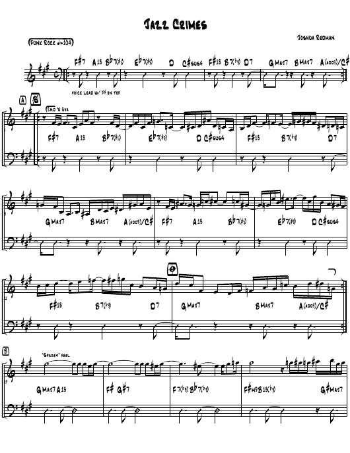 """Joshua Redman - Jazz Crimes Piano Sheet Music"" Download Pdf"
