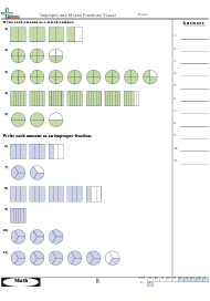 Improper and Mixed Fractions Visual Worksheet With Answers