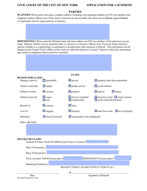 Form CIV-GP-59  Printable Pdf