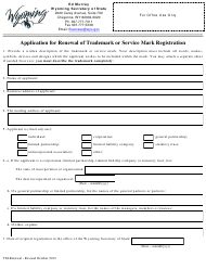 """""""Application for Renewal of Trademark or Service Mark Registration"""" - Wyoming"""