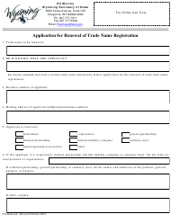 """""""Application for Renewal of Trade Name Registration"""" - Wyoming"""
