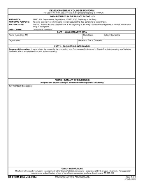 DA Form 4856 Fillable Pdf