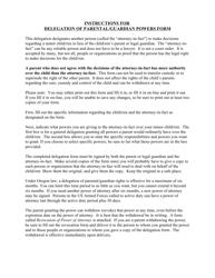 Delegation of Parental Form/Guardian Powers - Oregon