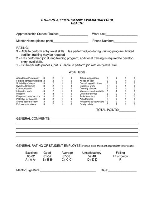 """Student Apprenticeship Evaluation Form"" Download Pdf"