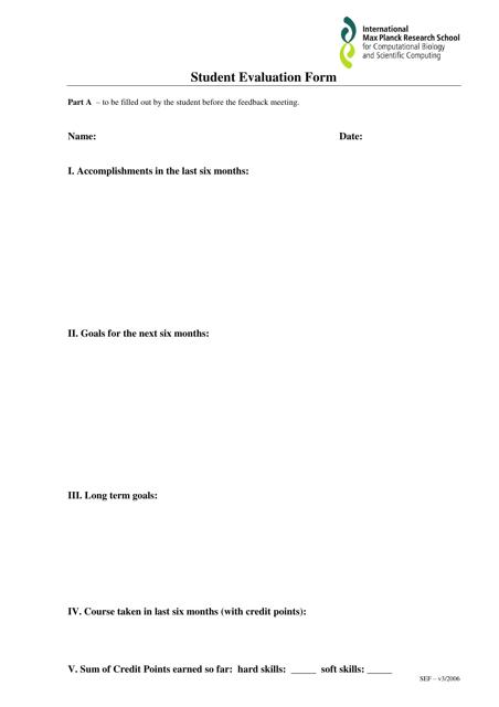 """Student Evaluation Form - International Max Planck Research School"" Download Pdf"