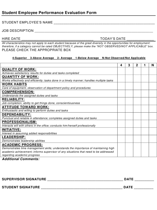 """Student Employee Performance Evaluation Form"" Download Pdf"