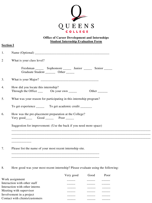 """Student Internship Evaluation Form - Queens College"" Download Pdf"