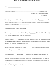 """Month-To-Month Rental Agreement Template"""