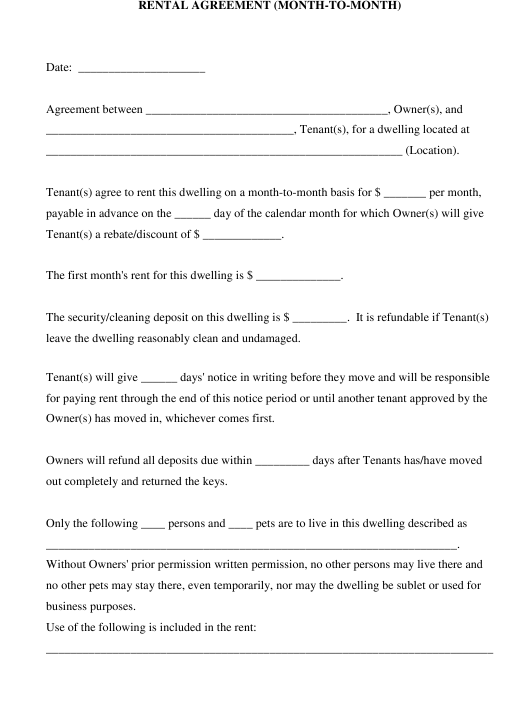 """Month-To-Month Rental Agreement Template"" Download Pdf"