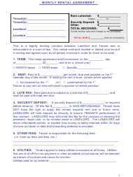 """Monthly Rental Agreement Template"""