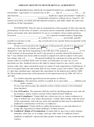 Month to Month Rental Agreement Template - Oregon
