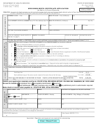 "Form F-05291 ""Wisconsin Birth Certificate Application (For Mail or in-Person Requests)"" - Wisconsin"