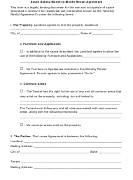 Month-To-Month Rental Agreement Template - South Dakota