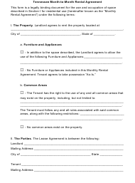 Month-To-Month Rental Agreement Template - Tennessee