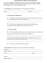 Month-To-Month Rental Agreement Template - Georgia