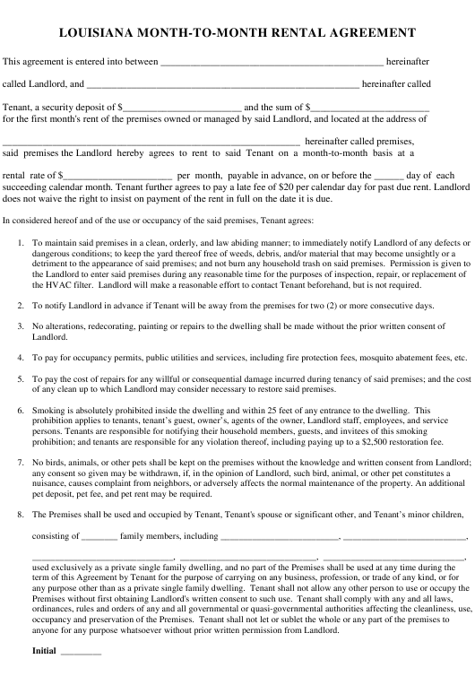 """""""Month-To-Month Rental Agreement Template"""" - Louisiana Download Pdf"""