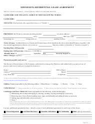 Residential Lease Agreement Template - Minnesota