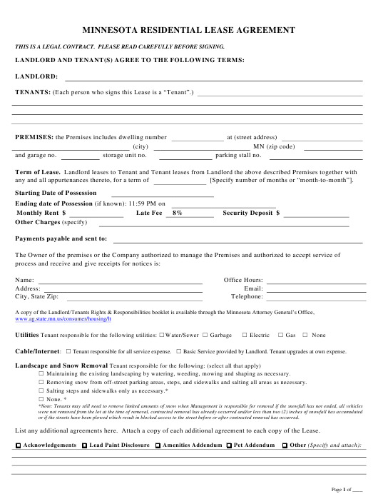 Residential Lease Agreement Template - Minnesota Download Pdf