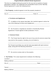 Month-To-Month Rental Agreement Template - Virginia
