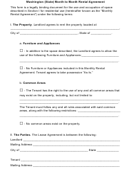 Month-To-Month Rental Agreement Template - Washington