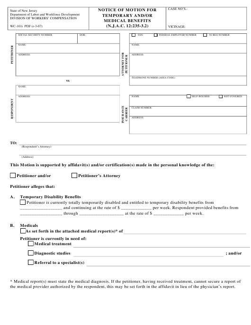 Form WC-101I  Printable Pdf