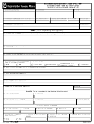 VA Form 10-2406 Recommendation for Release of Patient in Home Other Than Patient's Own