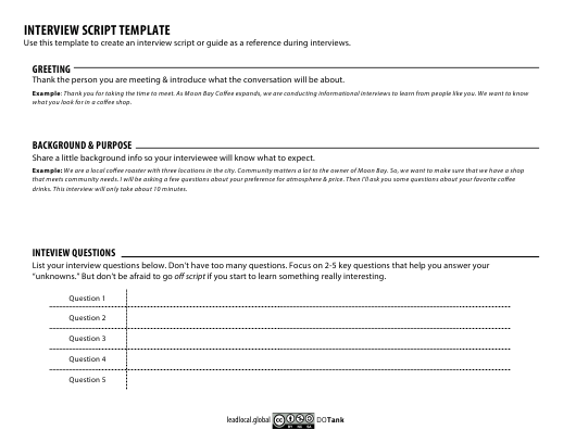 Interview Script Template Download Printable PDF