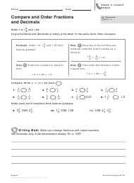 """Compare and Order Fractions and Decimals Worksheet - Chapter 4, Lesson 3 Reteach"""