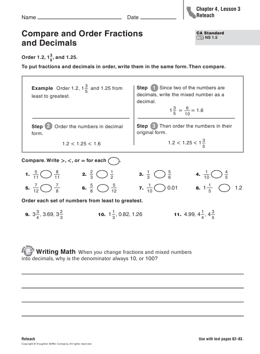 compare and order fractions and decimals worksheet  chapter   compare and order fractions and decimals worksheet  chapter  lesson   reteach download pdf