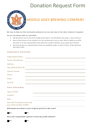 Donation Request Form - Middle Ages Brewing Company