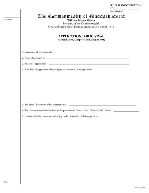 """Application for Revival"" - Massachusetts Download Pdf"