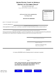 "USCA Form 81 ""Application for Admission to Practice"" - Washington, D.C."