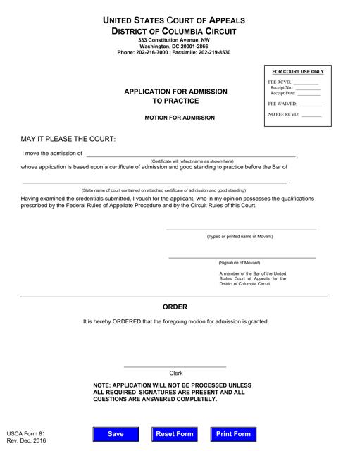 USCA Form 81  Printable Pdf