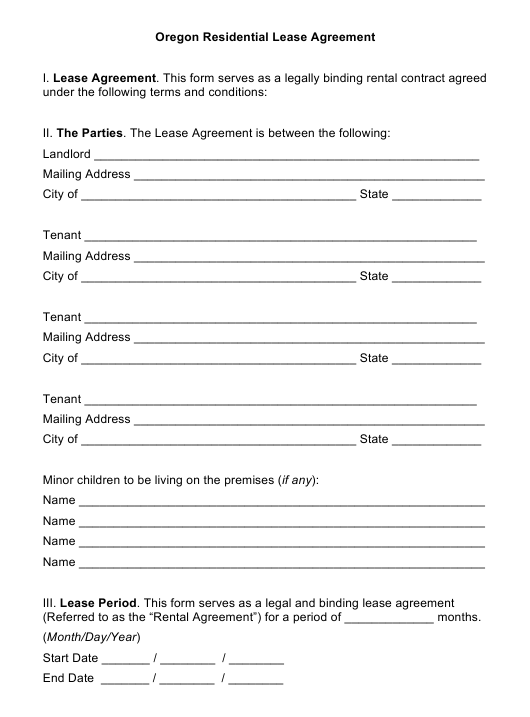 Residential Lease Agreement Template - Oregon Download Pdf