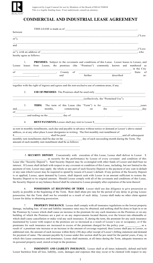 """Commercial and Industrial Lease Agreement Form - National Association of Realtors"" Download Pdf"