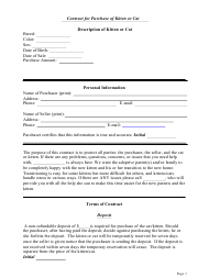 """Kitten or Cat Purchase Contract Template"""