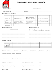 """""""Employee Warning Notice Template - the Wash Tub"""""""